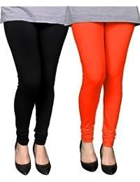 Spring Up Black Orange Woman's Cotton Lycra Premium Leggings (Pack Of 2) - B075W7Q6RK