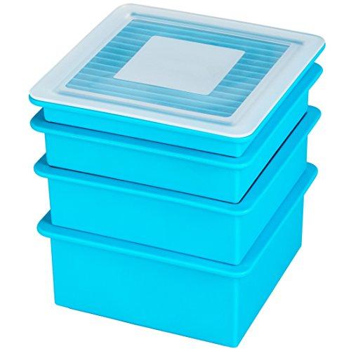 Levivo Silikon Eiswürfelform Set in 4 Größen & Motiven, Antihaft Eiswürfelbehälter, Eiswürfelbereiter Semi-Transparent oder Blau, Eis Silikon Form