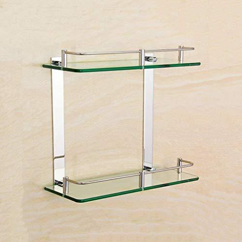 XMUEI Regal Bad Edelstahl doppel Bad gehärtetem Glas Rahmen 7mm Dicke Wand rechteckig Chrom poliert Halterung Bad Regal Glas (8 größe optional) (Size : 250mm/9.8inch)