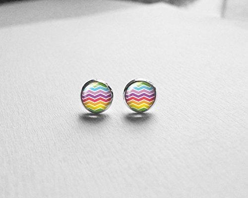 Colorful Ohrringe, Rainbow Ohrringe, Chevron Ohrringe, Ohrstecker, Schwester Geschenk, klein Ohrringen, Teen Mädchen Geschenke