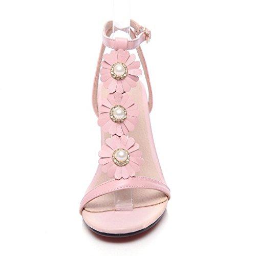 COOLCEPT Damen Mode-Event T-Spangen Sandalen Blockabsatz Open Toe Schuhe Rosa