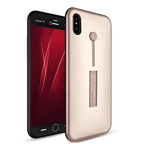 Uniqstore iPhone X Phone Hülle Cover Armor stoßfest Shell mit Ständer Multifunktions-Halter Rose Gold Gold
