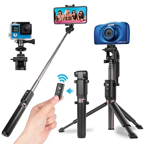 Power Theory Bluetooth Selfie Stick mit Handy und Kamera Stativ (80cm) - Selfiestick mit Fernauslöser, kompatibel mit iPhone, Samsung, Huawei, OnePlus, Digitalkameras GoPros und mehr - Selfi Tripod