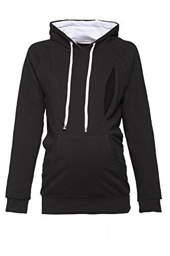 Happy Mama. Women's Maternity Hoodie Nursing Sweatshirt Kangaroo Pocket. 324p (Black, UK 14, XL)