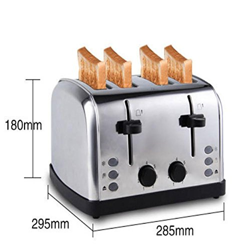 Home bread machine automatic bread baking machine for stainless steel toaster (Silver) 1500W