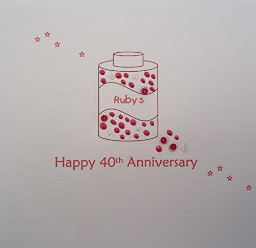 Bianco Carte cotone fatta a mano Scheda di registrazione Buon 40 ° anniversario della carta Ruby Red