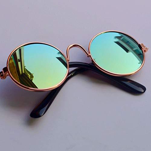 Seturrip - Pet Sonnenbrille Hund Augen-wear Katze Brille Little Dog Brille Fotos Props Hundekatzenzubehör Tierbedarf für kleine Hunde Artikel [Gold Frame Golden]