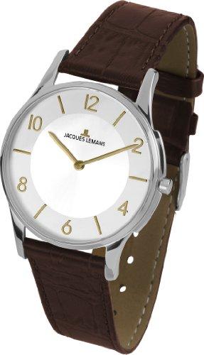 Jacques-Lemans-Unisex-Armbanduhr-London-Analog-Quarz-Leder
