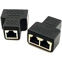 Adaptador Conector Divisor de RJ45 LAN Ethernet Red Enchufe 1 a 2 Puertos