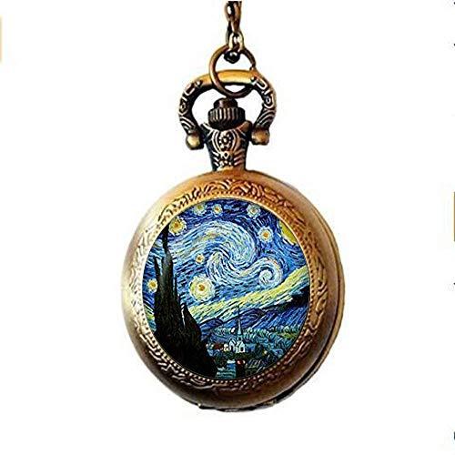 Handgefertigter Schmuck, Vintage-Anhänger Van Gogh, Sternennacht, Taschenuhr, Halskette aus Glas