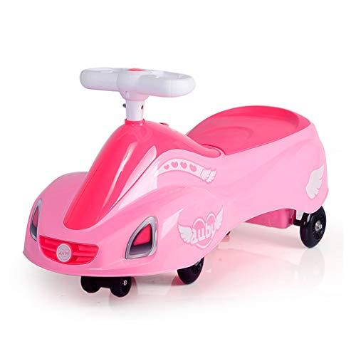LCM Dreirad-Dreiradauto der Kinder kein Pedalschieber-Babywanderer mit tragendem Gewicht des Musikelternteilkindspiels 100kg 2-4 Jahre alt (Color : PINK, Size : 37 * 74 * 20CM)