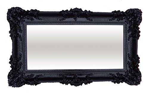 XXL Barockspiegel Wandspiegel Schwarz 96x57cm Antik Barock Rokoko Wanddeko Luxuriös Retro Look