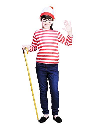 Magic Box Int. Kinder Rot Striped Buch Zeichen Kostüm Kit Small (4-6 Years) (Zeichen Buch Kostüm)