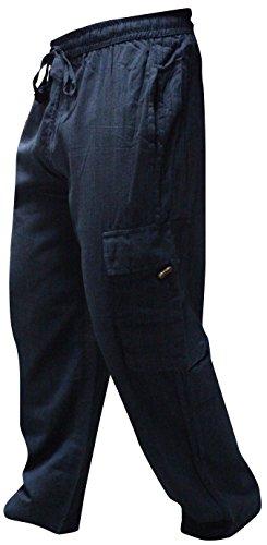 Shopoholic FASHION HERREN Seitentasche leichte Baumwolle Boho Hippie Hose Blau