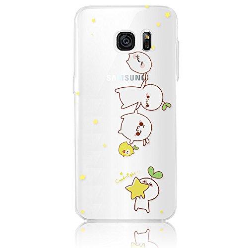 Sunroyal® Custodia per Samsung Galaxy S7 Edge G9350 SM-G935 Protettiva Cover Universale di Ultra Sottile TPU Morbido Antigraffio Trasparente Cristallo Chiaro e Shock-Absorption Bumper Case Posteriore Modello 01