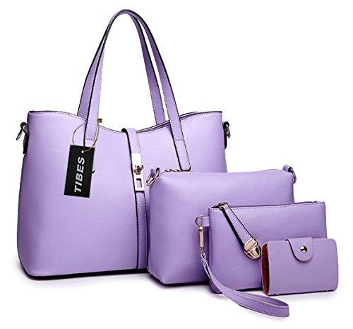 Tibes PU cuir sac a main + epaule de sac de femmes de la mode + porte-monnaie + carte 4pcs mis Violet