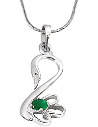Surat Diamond Green Oval Emerald Set In 925 Sterling Silver Peacock Pendant For Girls With 18 IN Silver Finished...