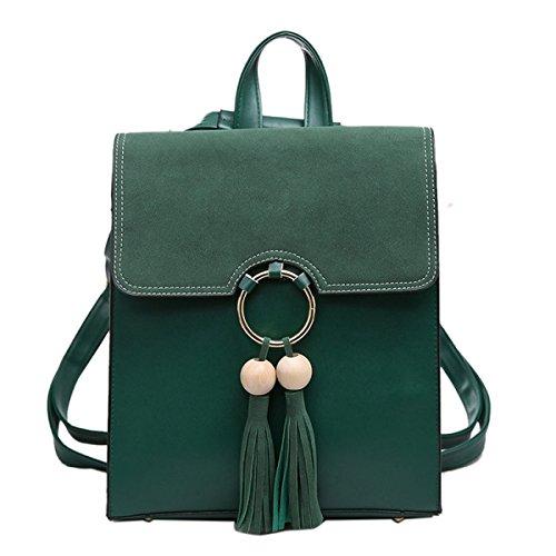 Ragazza Pu Skin Nappa Zaino Casual Moda Borsa A Tracolla Signora Personalità Elegante Piccolo Borsa Quadrata Green