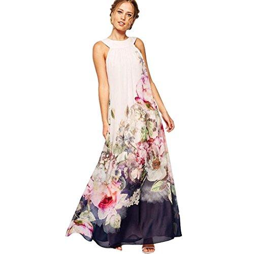Ansenesna Kleid Damen Boho Blumen Sommer Lang Chiffon Elegant Sommerkleid Rückenfrei Vintage...
