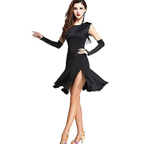 CX Frauen Quaste Rundhals Ärmelloses Split Leg Latin Dance Kleid Kostüme Mit Handschuhen (Color : Black, Size : L)