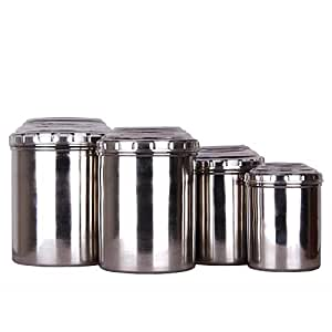 SAPL Stainless Steel Storage Container with See Through Lid, Set of 4 Pcs, Silver