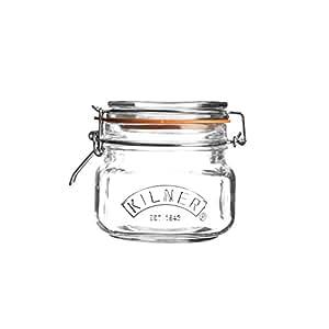 Kilner Square Clip Top Storage Jar, 0.5 Litre