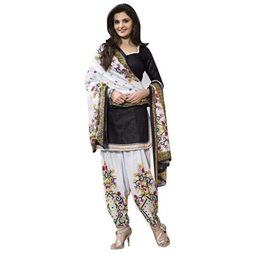 DR Pure Cotton Black Punjabi Patiyala Suits Unstitched