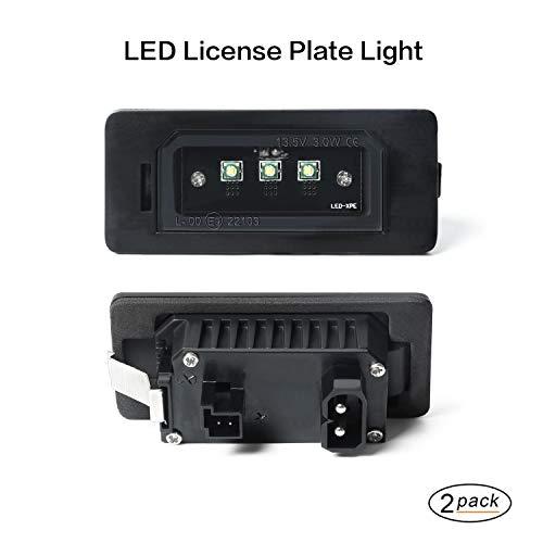 LED-Kennzeichenleuchte Gempro 2 x 3 SMD LED-Leuchten mit eingebautem CAN-Bus und fehlerfreier wasserdichter Rückleuchten Schwarzes Aluminium Für E82 E90 E93 E39 E60 E10 F10 F18 F25 E70 E15 F15