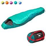 KeenFlex Mumienschlafsack 350 - 3 Jahreszeiten -5℃ + 15℃ - Hochentwickeltes Wärmeregulierungssystem – Ideal für Camping, Backpacking oder Wandern (Grün)