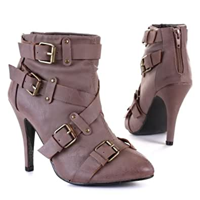 Woman's Shoes, Ankle Boots, Synthetic high-quality leather look, 9896, brown, size 7