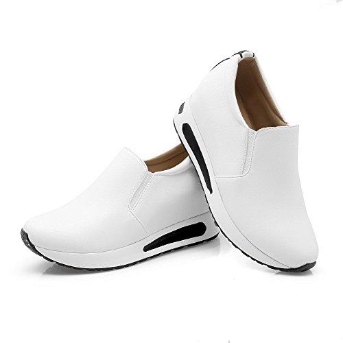 AllhqFashion Femme Couleur Unie à Talon Correct Tire Rond Chaussures Légeres Blanc