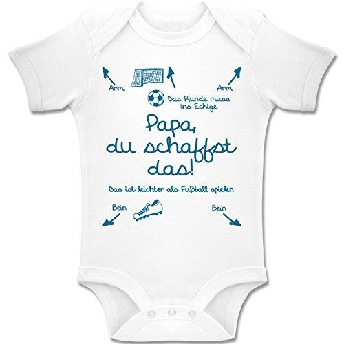 Shirtracer Strampler Motive - Papa du schaffst das Fußball Junge - 1/3 Monate - Weiß - BZ10 - Baby Body Kurzarm für Jungen und Mädchen