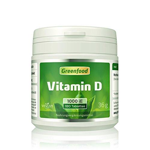 Vitamin D2, 1000 iE, 180 Tabletten, vegan - Knochenvitamin für feste, harte Knochen. Fördert starkes Immunsystem. OHNE Magnesiumstearat.