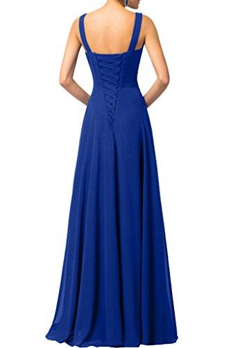 Sunvary Elegant Neu A-Lnie V-Neck Steine Paillette Chiffon Abendkleider Bodenlang Mutterkleider Grape