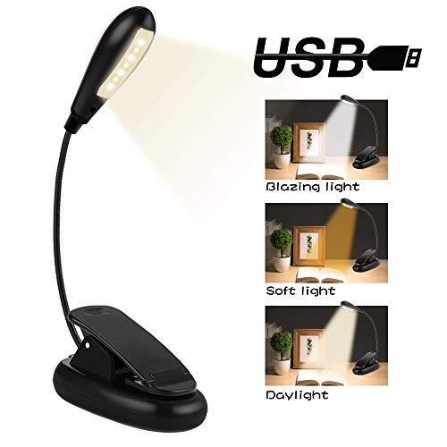 Leselampe Buch, Nasharia LED Buchlampe Klemme mit 7LEDs, 3 Helligkeit, LED Klemmleuchte, 360° Flexibel Led Klemmleuchte, USB Wiederaufladbar für Nacht Lesen, Kindle, Schlafzimmer, Büro, Buch, Bett
