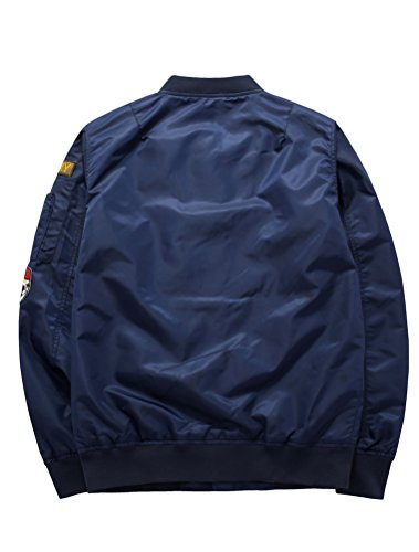 MatchLife Hommes Design NASA, Armee Americaine Et Air Force One Jacket Pilotes Sports Loisirs Col V Collier Style Bomber Baseball Manteau Retro S-XL Style2-Bleu