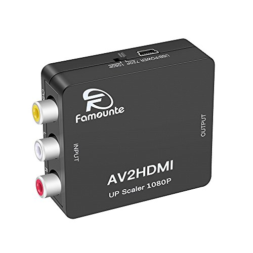 Famounte HDMI Konverter (Cinch/Composite/AV/CVBS/RCA zu HDMI),Full HD 720p/1080p,USB-Stromversorgung, Pal/NTSC ,für PS3,Digitalempfänger,Xbox,Videorecorder,Blue-Ray/DVD-Player,Fernsehgeräte Psi-wandler