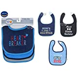 Cotton Bibs For Baby Boy Set Of 3 By Wishkey | Multicolor Printed Velcro Feeding Bibs For 6 Months To 2 Years Kids | Soft And Comfortable Material Machine Washable Easy To Clean Bibs For New Born Infants And Toddlers