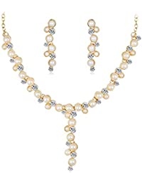 Yellow Chimes Classic Contemorary Necklace Set Jewellery Set for Women (White)(YCFJNK-04EX-WH)