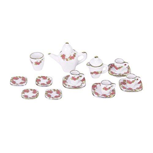 15 Stück Miniatur Puppenhaus Ess Geschirr Porzellan Tee Set Geschirr Tasse Teller quadratische Platte (Porzellan Puppen Hübsches)