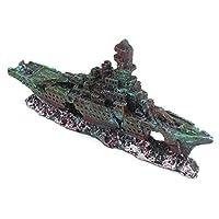 VAWAA Aquarium Broken Ship Resin Craft Ornament Figurines For Fish Tank Aquarium Micro Miniatures Landscape Resin Decoration