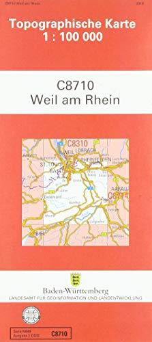 Weil am Rhein (N) (Topographische Karten 1:100000 (TK 100) Baden-Württemberg (amtlich) / Normalausgabe (N): Grundriss, Gewässer, Höhenlinien, ... mit Strassenaufdruck wie Ausgabe (N))