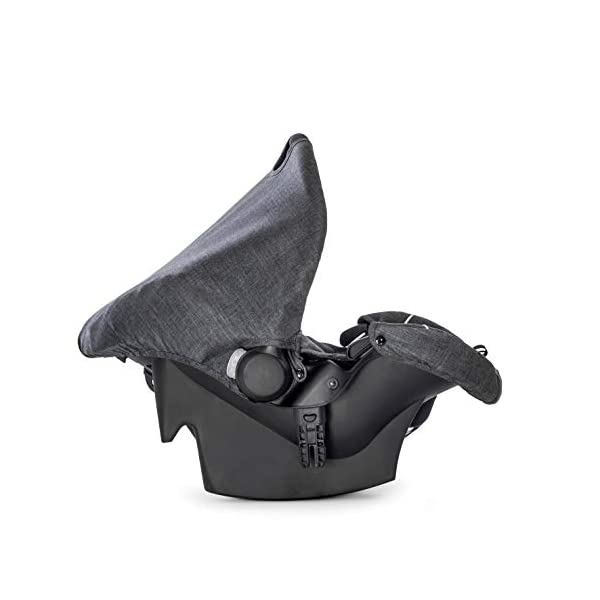 Hauck Pacific 4 Shop N Drive, Lightweight Pushchair Set with Group 0 Car Seat, Carrycot Convertible to Reversible Seat, Footmuff, Large Wheels, From Birth to 25 kg, Melange Charcoal Hauck  12