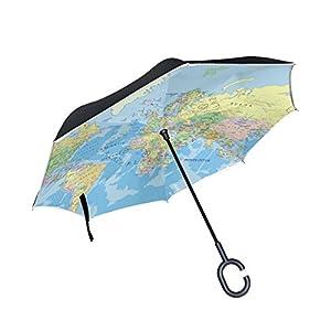 jstel doble capa puede dworld mapa paraguas coches Reverse resistente al viento lluvia paraguas para coche al aire libre con asa en forma de C