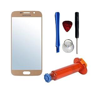 Frontglas für Samsung Galaxy S6 Ersatzglas Displayglas Ersatzscheibe echtes Glas inkl. Werkzeug UV Kleber Displayschutzfolie Gold