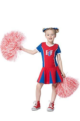 Karneval-Klamotten Cheerleader Kostüm Kinder blau rot weiß Kinder-Kostüm Cheerleader-Kleid Mädchen Karneval Größe 140 (Rote Weiße Und Blaue Cheerleader Kostüm)