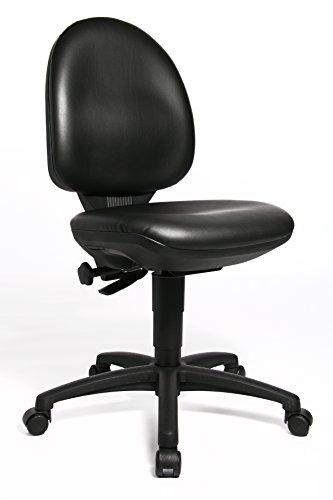 Topstar TEC 50, Komfort Bürostuhl, Schreibtischstuhl, Arbeitshocker, Rollhocker, Kunstleder, schwarz -