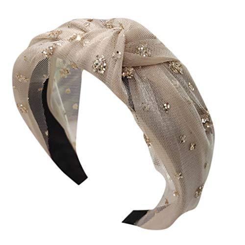 Luxus Einfache Damen Haarband Bronzing Pailletten Blumen Deko Maschenknoten Die Breite Seite Drehen Stirnband Dating Yoga Bevorzugter Haarschmuck Party Hut Haarspange Kopftuch (Einheitsgröße, Beige)