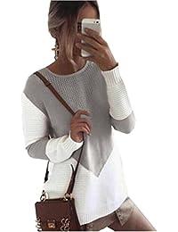 ZKOO Suéter Jerseys De Punto Mujeres Puntadas Manga Larga Cuello Redondo  Punto Jerséy Pullover Tops Suelta 91a05bc50faf
