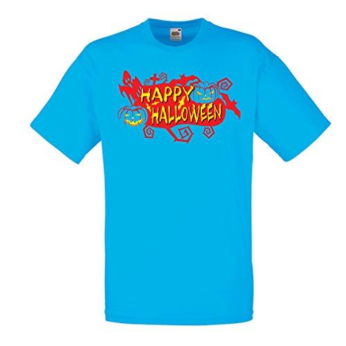 Männer T-Shirt Owls, Bats, Ghosts, Pumpkins - Halloween outfit full of Spookiness (XX-Large Blau (Viking Für Erwachsene Outfits)